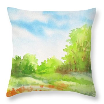 Throw Pillow featuring the painting Spring Scene by Inese Poga