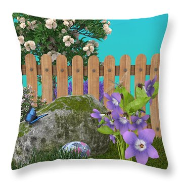 Throw Pillow featuring the digital art Spring Scene by Mary Machare