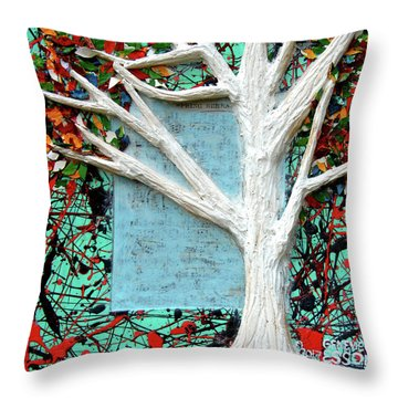 Throw Pillow featuring the painting Spring Serenade With Tree by Genevieve Esson