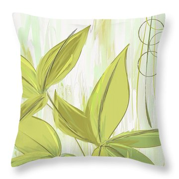 Spring Shades - Muted Green Art Throw Pillow by Lourry Legarde