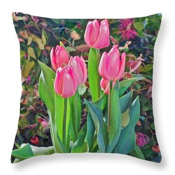 Spring Show 14 Pink Tulips  Throw Pillow