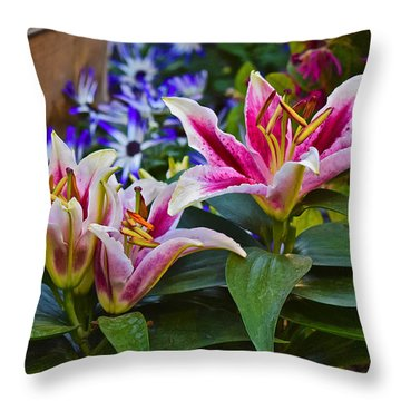 Spring Show 15 Lily Trio Throw Pillow by Janis Nussbaum Senungetuk