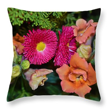 Spring Show 15 Snapdragons And English Daisy Throw Pillow