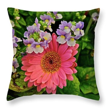 Throw Pillow featuring the photograph Spring Show 18 Gerbera Daisy With Snapdragons by Janis Nussbaum Senungetuk