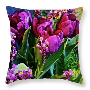Throw Pillow featuring the photograph Spring Show 18 Red Violet Tulips With Toadflax 1 by Janis Nussbaum Senungetuk