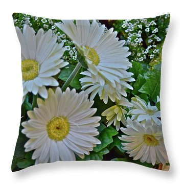 Throw Pillow featuring the photograph Spring Show 18 White Gerbera Daisies by Janis Nussbaum Senungetuk