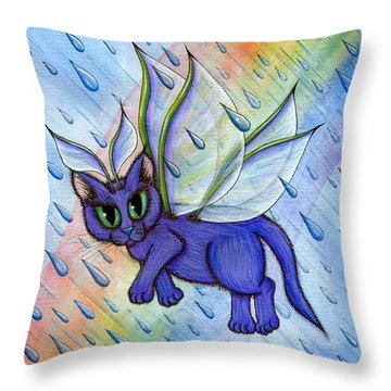 Spring Showers Fairy Cat Throw Pillow