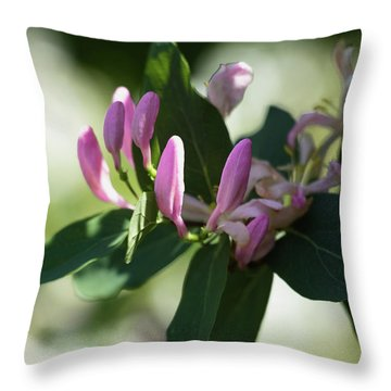 Throw Pillow featuring the photograph Spring Shrub With Pink Flowers by Cristina Stefan