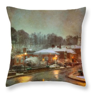 Spring Snow In Peterborough Nh Throw Pillow