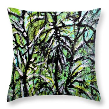 Throw Pillow featuring the painting Spring Snow by Priti Lathia