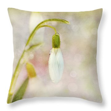 Spring Snowdrops And Bokeh Throw Pillow by Peggy Collins
