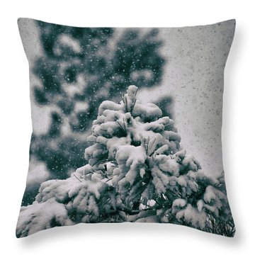 Spring Snowstorm On The Treetops Throw Pillow by Jason Coward