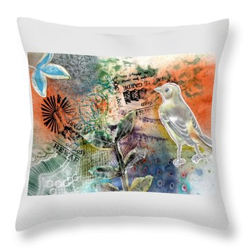 Throw Pillow featuring the mixed media Spring Song by Rose Legge