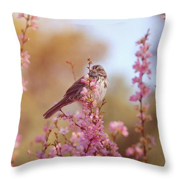 Throw Pillow featuring the photograph Spring Sparrow by Lynn Bauer