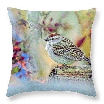 Spring Sparrow Throw Pillow