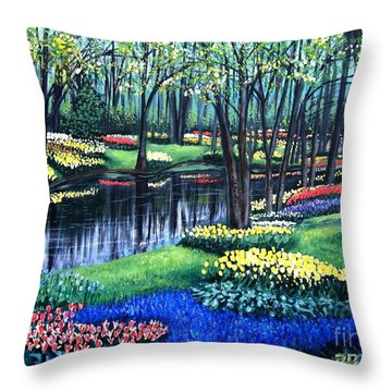 Throw Pillow featuring the painting Spring Splendor Tulip Garden by Patricia L Davidson