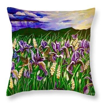 Spring Storm  Iris Fields Throw Pillow