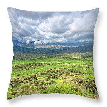 Spring Storm Moving Over The Bradshaw Throw Pillow by Charles Ables