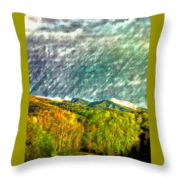 Throw Pillow featuring the photograph Spring Storm Over Truchas Peaks by Anastasia Savage Ealy