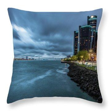 Storm Season In Detroit  Throw Pillow