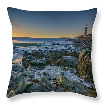 Spring Sunrise At Portland Head Throw Pillow by Rick Berk