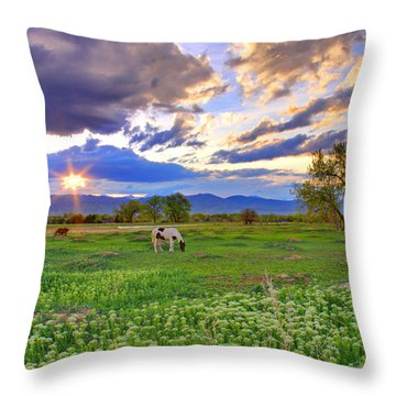 Spring Sunset Over The Rockies Throw Pillow