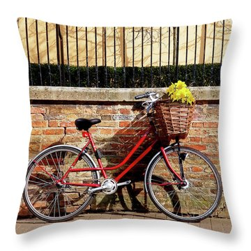 Throw Pillow featuring the photograph Spring Sunshine And Shadows - Bicycle In Cambridge by Gill Billington