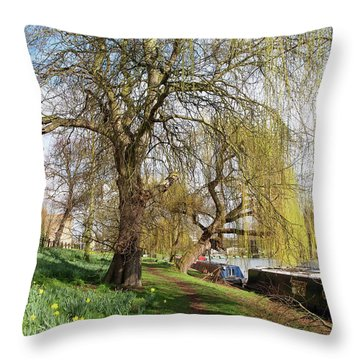 Spring Sunshine On Cambridge Riverbank Throw Pillow by Gill Billington