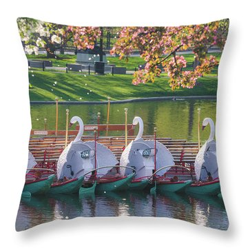 Spring Swan Boats Throw Pillow by Mike Ste Marie