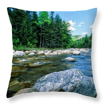 Spring-swift River Nh Throw Pillow by Michael Hubley