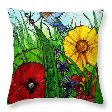 Spring Things Throw Pillow by Carrie Jackson