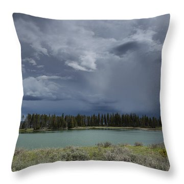 Spring Thunderstorm At Yellowstone Throw Pillow