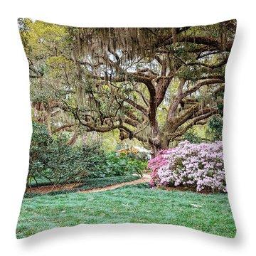 Spring Azaleas In Florida Throw Pillow