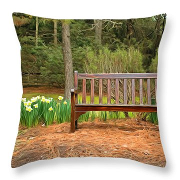 Spring Time Seat Throw Pillow by Marion Johnson