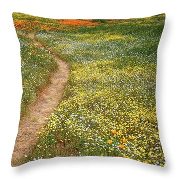 Throw Pillow featuring the photograph Spring Trail Through A Sea Of Wildflowers At Diamond Lake In California by Jetson Nguyen