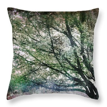 Throw Pillow featuring the painting Spring Tree by Gray  Artus