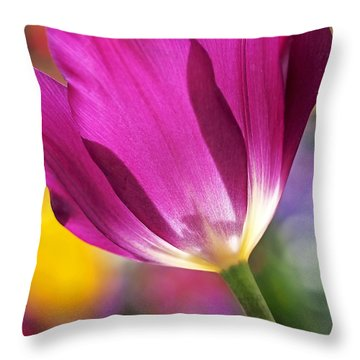 Spring Tulip Throw Pillow by Rona Black