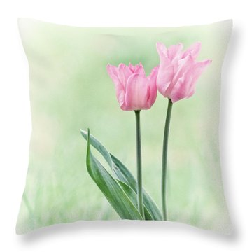 Throw Pillow featuring the photograph Spring Tulips by Angie Vogel