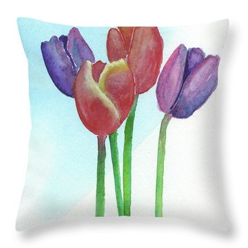 Throw Pillow featuring the painting Spring Tulips by Betsy Hackett