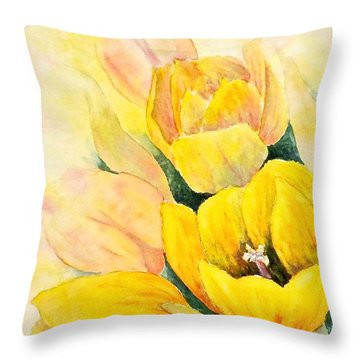 Throw Pillow featuring the painting Spring Tulips by Carolyn Rosenberger