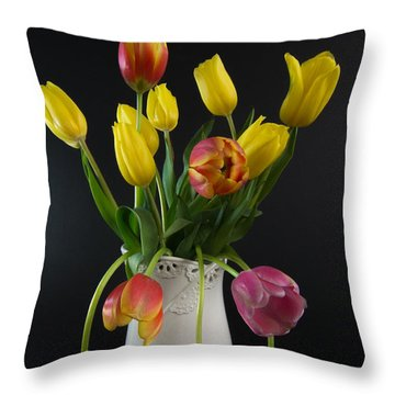 Spring Tulips In Vase Throw Pillow