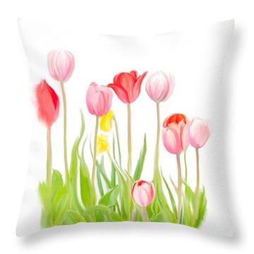 Spring Tulips Iv Throw Pillow