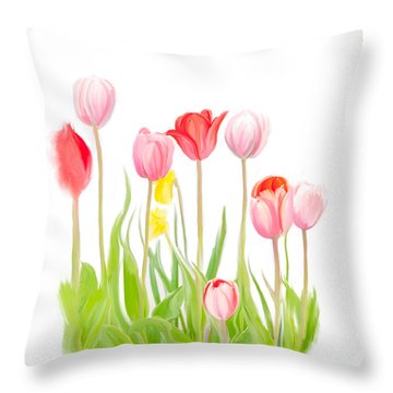 Spring Tulips Iv Throw Pillow