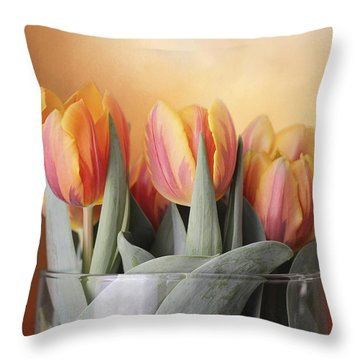 Spring Tulips Throw Pillow by Kathleen Holley