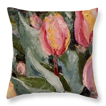 Spring Tulips Throw Pillow by Monica Ironside