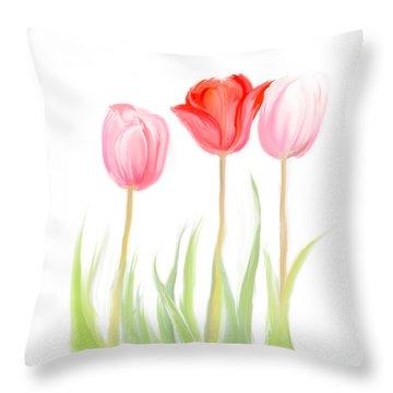 Spring Tulips V Throw Pillow