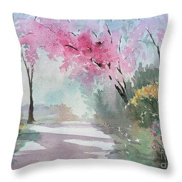Spring Walk Throw Pillow by Yohana Knobloch