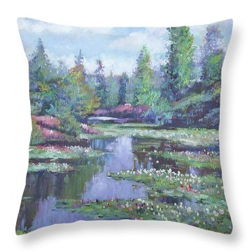 Spring Watergarden Throw Pillow