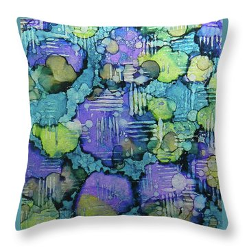 Throw Pillow featuring the painting Spring Weave Ink #4 by Sarajane Helm