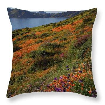 Spring Wildflower Season At Diamond Lake In California Throw Pillow